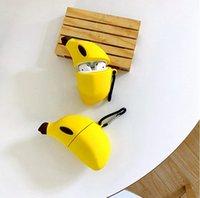 Cool Cute LifeLike 3D Банановые Беспроводные Беспроводные Bluetooth Наушники Для Apple Airpods Pro 3 2 1 Силиконовая мягкая защитная гарнитура