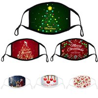 2022 masks designer cotton face mask printed Christmas tree dustproof windproof adjustable Party facemask with black earhoop