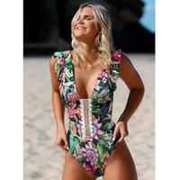 Women's Swimwear Lace Stitching Swimsuit Halter Sexy Ruffled Shoulder Strap INS Printed 2021 Designer Bikini
