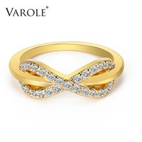 VAROLE Infinity Symbol with Crystal Rings For Women Gold Color Summer Fing Ring Anillos Fashion Jewelry Gift