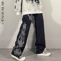 Shengpalae escuro streetwear lavagem jeans primavera 2021 nova cintura alta na moda tubo em linha reta perna larga esqueleto calças jeans