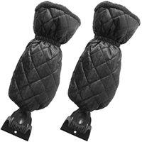 Grattoir de glace MiGlove Pare-brise Snow Tableau imperméable à la neige avec doublé d'épaisseur de polaire noir, gant 2pcs