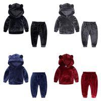 Ins Çocuk Eşofmanlar Altın Kadife Kız Sporwears Boy Hoodie Tops Pantolon 2 Adet Setleri Bebek Erkek Giyim Setleri 4 Renkler Opsiyonel DW1834