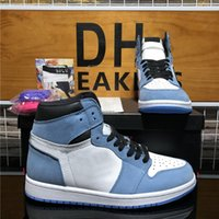 Top Quality Homens Mulheres Jumpman 1 Sapatos de Basquete Alto Universidade Azul Obsidian Fare Desertente Fumo Cinza Banido Criado Toe Chicago Mens Mulheres Sports Treinadores Sneakers
