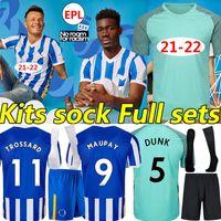 21/22 Hove Albion Soccer Jerseys Maupay Lallana Dunk Connolly Trossard 2021 2022 Männer Kinder Kits + Socke Full Sets Fußball Hemd Uniformen