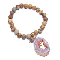 Reiki Bracelets Round Beads With Agates Pendants For DIY Jewelry Necklace Bracelet Accessories 27x40mm Charm