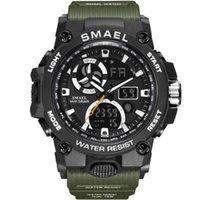 SMAEL 8011 Мужская двойной дисплей спортивные открытый часы Большой набор кварты силиконовые хронограф цифровые мужские наручные часы