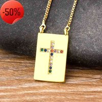 2021 Fashion Copper Zircon Luxury Cross Pendants Necklace for Men and Women Various Styles Charm Crystal Chain Religion Jewelry