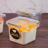 클리어 케이크 상자 투명 한 광장 무스 플라스틱 컵케익 박스 뚜껑 요가 푸딩 웨딩 파티 용품 GWB8646