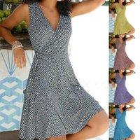 Women Loose Big Hem Dress V Neck Sleeveless Floral Short Dress Solid Beach Dress