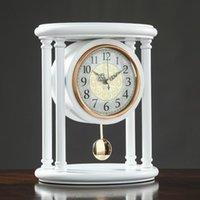 البندول خمر مكتب ساعة كتم خشبية الإبداعية الجدول غرفة المعيشة الكوارتز relogio دي ميسا الجدة الساعات AC50TC ساعات