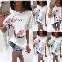 New beautiful High heels printed summer Cotton t shirt women tops tees short sleeve fashion Casual T-shirt