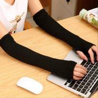 Five Fingers Gloves Winter Glove Wrist Arm Hand Warmer Knitted Long Fingerless Mitten Black