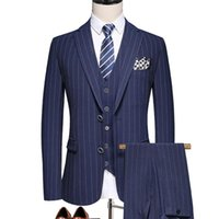 Men's Suits & Blazers (Jacket+Pants+Vest) Wedding Suit Men Dress Korean Slims Business 3 Pieces Set Formal Tuxedo Groom Luxury