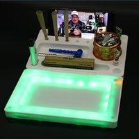 LED Vassoio rotolante Glowing Tobacco Accessori per fumo con coperchio Sigarette Portatile PIASTRA PIASTRA PLASTICA PLASTICA HARB HERB STOCCAGGIO DISCO NOTTION LIGHTING LOGO Osservazione