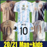 Argentine Messi Soccer Jerseys 2021 Copa Amérique Champion Shirt Di Maria Maradona Football Shirts L.Martinez Kun Aguero de Paul Jersey Jersey Argentino