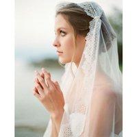 Bridal Veils Women Lace Wedding Dress Veil Layers Tulle Ribbon Edge Accessories Velos De Novia 2021