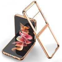 Luxury Plating Transparent Cases For Samsung Galaxy Z Flip3 Flip 3 5G Case Silicone Electroplate Frame Hard Clear Cover