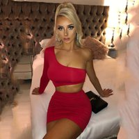 Casual Dresses QIWN White Dress Women 2021 Summer Sexy Party Club One Shoulder Hollow Out Long Sleeve Robe Backless Bodycon Vestidos