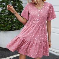Лето в горошек печатание богемное платье женские дамы свободная кнопка O-шеи с коротким рукавом мини платье # 1 купальники