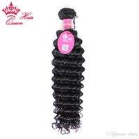 "Queen Hair Products Brazilian Deep Wave Curly Virgin Hair 1 Pcs 12 ""-28"" Cabelo Humano Tece na venda"