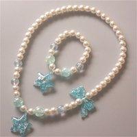 Kinderperlen Halskette Armband Zwei Teil Set Liebe Sterne Schmetterling Prinzessin Zubehör Blende Rosa farbige Perlen Set 1637 v2