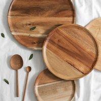 Platos platos kinglang japonés roble acacia madera bandeja familia simple placa sólida fruta plato seco plato de goma vajilla
