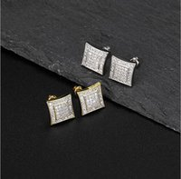 14K Gold Kite 40 CZ Micro Pave Gold Silver Bling Bling Earrings Hip Hop Iced Out 10mm Kite Square Earring For Men and Women ZHL3506