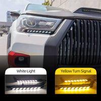 2 stücke Auto LED-Scheinwerfer Tagfahrlicht für Toyota Hilux Revo ROCCO 2020 2021 Runden Sie das gelbe Signal DRL Tageslicht
