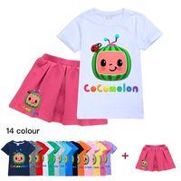 2021 Sommer Mädchen Designer T-shirt und Rock Set zweiteilig Kokomel-Cartoon-Kleid Anzug Sweat-Hemd-Tops Kurzer Plissee Röcke Sportbekleidung Casual Tuch G49O9QY
