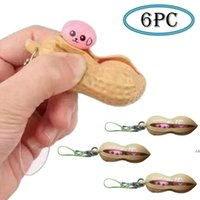 Kawaii Anti Stress Peanut Push Pop Bubble Squishy Toy Stress Relief Fidget Toys Mini Keychain Improve Focus Officer Toys For Kid DHL DWF6879