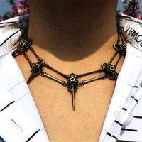 Череп птица голова ожерелье для волшебника панк ювелирные изделия модные аксессуары винтажные цепные цепные цепи