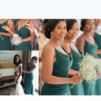 Dark Green African Mermaid Bridesmaid Dresses 2020 Spaghetti Straps Floor Length Plus Size Maid of Honor Dress Prom Gowns
