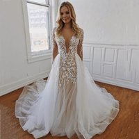 Deep V Neck Long Sleeves Lace Mermaid Wedding Dresses with Detachable Train Tulle Backless Plus Size Boho Bridal Gowns