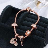 Pulseira Pandora Estilo Charme Mulheres Moda Beads Bangle Rose Gold DIY Pingentes Snap Jóias Atacado Meninas