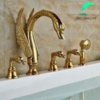 Wholesale And Retail 5PC Swan Shape Widespread Bathtub Faucet Bathroom Tub Mixer Shower Sets