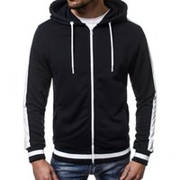 Men's cardigan Hooded Sweater contrast color blocking design style Plush thickened long sleeve warm jacket trendy man40RL{category}