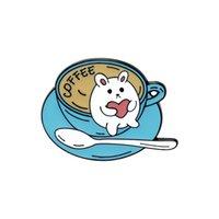 20pcs / lot 귀여운 만화 커피 고양이 컵 브로치 합금 에나멜 칼라 꽃 핀 친구 여성 디자인 브로치 쥬얼리 액세서리 739 Q2