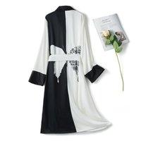 Women's Sleepwear Faux Silk Kimono Robe Bathrobe Women Satin Bridesmaid Robes Sexy Black White Butterfly Ladies Dressing Gowns