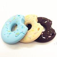 Новый силиконовый на палочке на палочке Донут TeTher Пищевой сорт TeTher Teething Ожерелье Силиконовые кулон Детские подарок жевать бусины печенье игрушка BWF6385