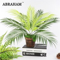 Decorative Flowers & Wreaths 50cm 9 Fork Big Fake Palm Tree Leaf Tropical Artificial Plant Bouquet Real Touch Leaves For Hawaii Party Autumn