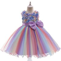 Girl's Dresses Baby Girls Princess Clothes Lace Sequin Bowknot Kids Tutu Pettiskirt Party Formal B5159