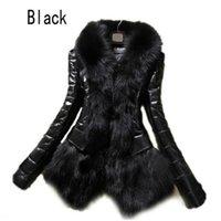 Manteau de fourrure Femmes Hot Women Cuir Snowsuit Veste à manches longues Mode noir