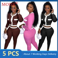 Women's Two Piece Pants Bulk Items Wholesale Lots Fall Wonen Tracksuits Single Breasted Cardigan Legging Color Block Patchwork 2 Set Outfits