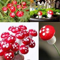 Garden Decorations 10Pcs Set Artificial Mini Mushroom Miniatures Fairy Moss Terrarium Resin Crafts Stakes Craft 2cm
