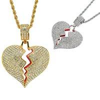 Personality Hip Hop Heartbroken Shape Pendant Zircon Couple Necklace Chain for Men Party Jewelry Gift