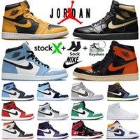 1 haute OG Hommes chaussures de basket-ball rétro 1s University Blue Dark Mocha royal toe noir métallique or mi gris fumée UNC hommes femmes baskets formateurs
