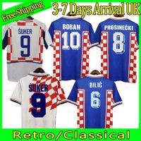 1998 2002 Copa do Mundo Retro Retro Jerseys Suker Boban Prosinecki 98 99 02 Clássico Vintage Casa Abaixo Branco Bilic Bilic Modric Hrvatska HNS Cust