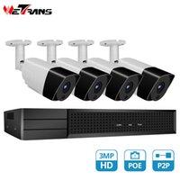 Wetrans Security Camera System Poe CCTV KIT 4CH NVR IP 1080P الصوت P2P إنذار في الهواء الطلق مراقبة الفيديو SISTEM