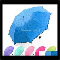 Full Matic Umbrella Rain Women Men 3 Folding Light And Durable 8K Strong Kids Rainy Sunny Umbrellas 6 Colors Cca11780 Tgzbi Cygxs